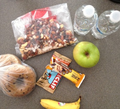 Bagels, trail mix, clif bar, zone bar, fruit + water + the muffins I made = perfect fuel :)