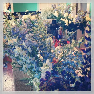 Sea of flowers in the kitchen.